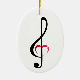 Heart music clef christmas ornament