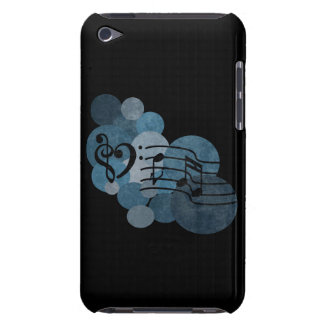 heart music clefs and blue polka dots ipod case