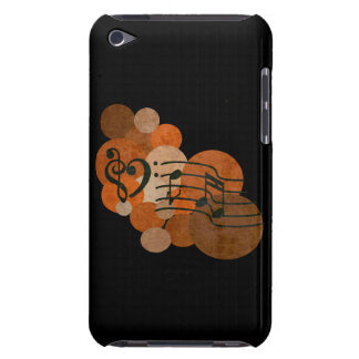 heart music clefs and orange polka dots ipod case