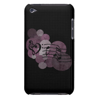 heart music clefs and purple polka dots ipod case barely there iPod case