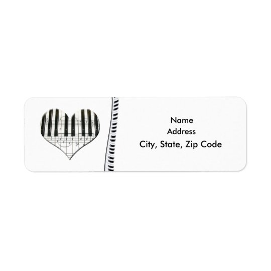 Heart Music Notes Keyboard Grand Piano Label Return Address Label