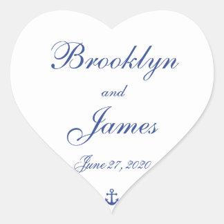 Heart Nautical Wedding Stickers