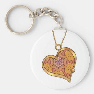 Heart Necklace 03 Burnt Orange Basic Round Button Key Ring