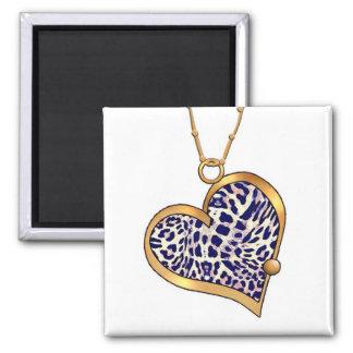 Heart Necklace 08 Leopard Spots Square Magnet