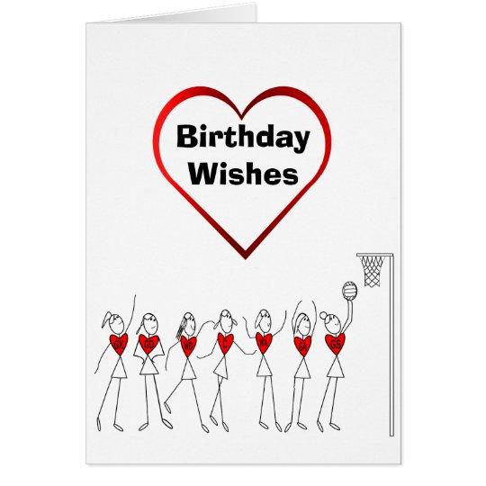 Heart Netball Positions Birthday Card