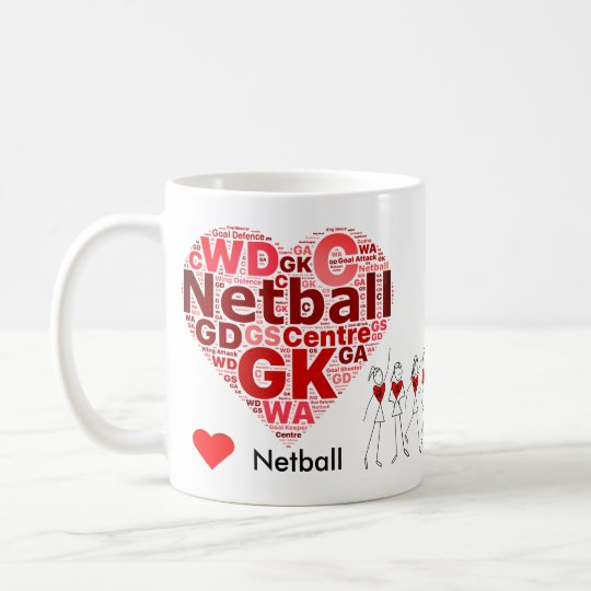 Heart Netball Positions Word Cloud Coffee Mug