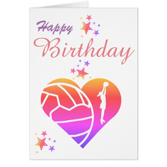 Heart Netball Theme Birthday Greeting Card