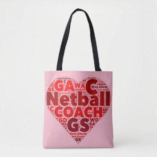 Heart Netball Themed Coach Tote Bag
