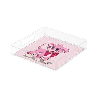 Heart Nose Pink Puppy Cartoon Acrylic Tray