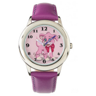 Heart Nose Pink Puppy Cartoon Watch