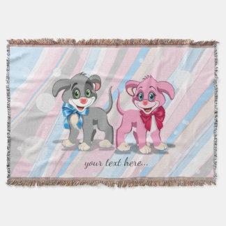 Heart Nose Puppies Cartoon Throw Blanket