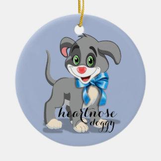 Heart Nose Puppy Cartoon Round Ceramic Decoration
