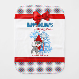 Heart Nose Puppy Christmas Cartoon Burp Cloth
