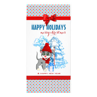 Heart Nose Puppy Christmas Cartoon Card