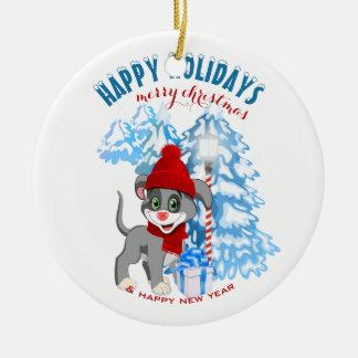 Heart Nose Puppy Christmas Cartoon Christmas Ornament