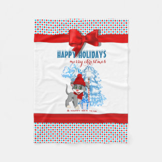 Heart Nose Puppy Christmas Cartoon Fleece Blanket