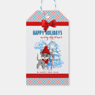 Heart Nose Puppy Christmas Cartoon Gift Tags