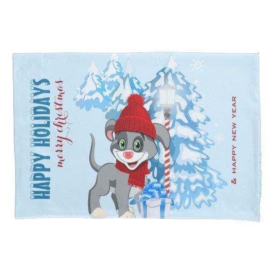 Heart Nose Puppy Christmas Cartoon Pillowcase