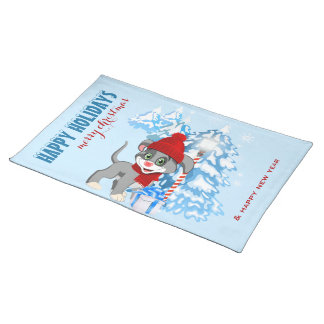 Heart Nose Puppy Christmas Cartoon Placemat
