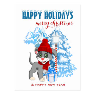 Heart Nose Puppy Christmas Cartoon Postcard