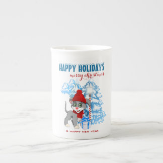 Heart Nose Puppy Christmas Cartoon Tea Cup