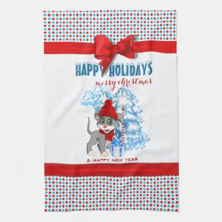Heart Nose Puppy Christmas Cartoon Tea Towel