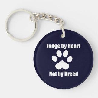 Heart Not Breed - Navy Single-Sided Round Acrylic Keychain