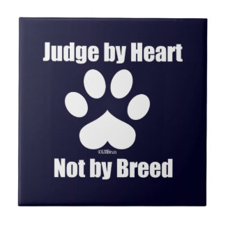 Heart Not Breed - Navy Small Square Tile