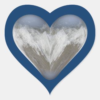 heart ocean wave heart sticker