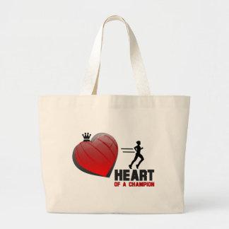 Heart of a Champion Running Jumbo Tote Bag