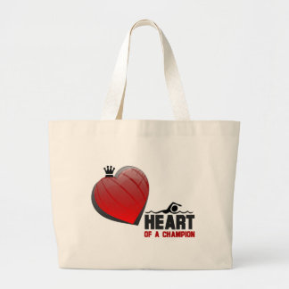 Heart of a Champion Swimming Tote Bags