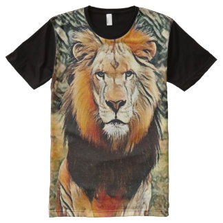 Heart of Africa Wild Lion Color Chalk Art All-Over Print T-Shirt