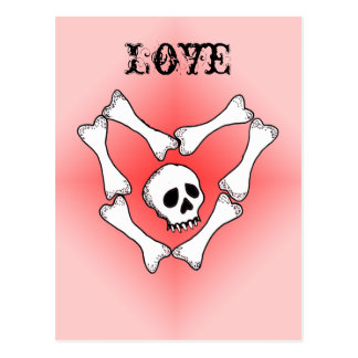 Heart of Bones Love Skull PostCard