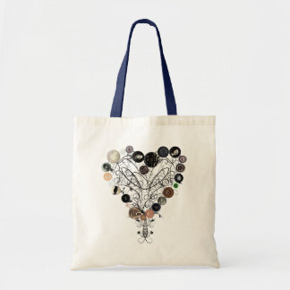 Heart of buttons and vines bag