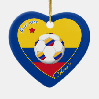 Heart of COLOMBIA SOCCER and national flag 2014 Ceramic Heart Decoration