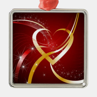 Heart Of Gold Square Metal Christmas Ornament