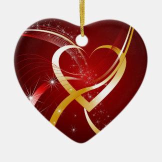 Heart Of Gold Ceramic Heart Decoration
