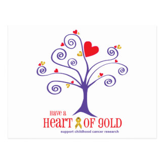 Heart of Gold for childhood cancer Postcard