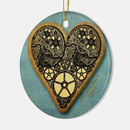 Heart Of Gold Gear Steampunk Vintage Christmas Ornament