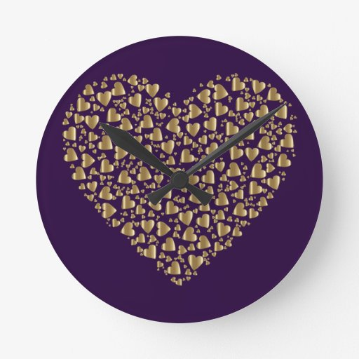 Heart of Gold Valentine Round Clock