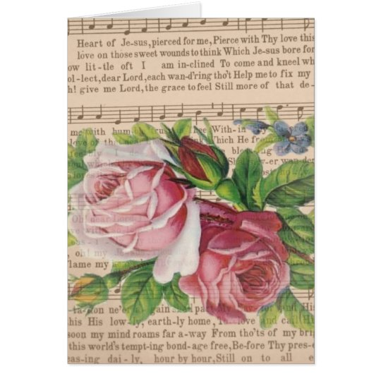 Heart of Jesus Music with Pink Roses & Butterflies Card