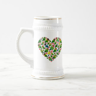 Heart of Lovebirds Beer Stein