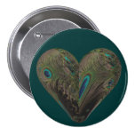 heart of peacock feathers 7.5 cm round badge