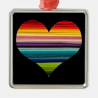 Heart of Rainbow Colored Stripes Decoration