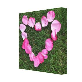 Heart of rose petals canvas print
