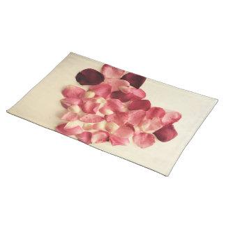 Heart of rose petals placemat