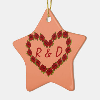 Heart of roses christmas ornament