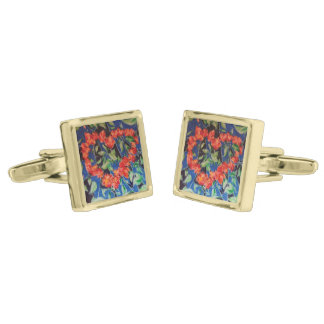 Heart of Roses Gold Finish Cuff Links