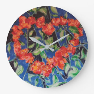 Heart of Roses on the Wall Large Clock