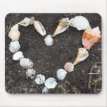 heart of sea shells mouse pad